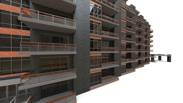 Modelo 3d do condomínio. apartamento casa com um pátio
