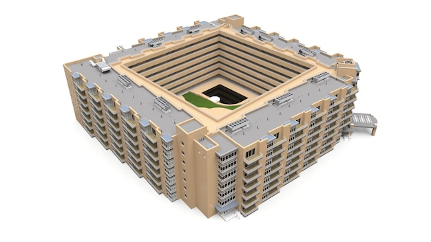Modelo 3d do condomínio. edifício de apartamentos com pátio. renderização 3d.