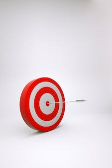 Modelo 3d realista de um alvo vermelho com um dardo no meio em um fundo branco e isolado. alvo vermelho, alvo, jogo de dardos. gráficos 3d