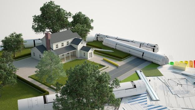Modelo arquitetônico e paisagístico da casa com plantas, gráficos de eficiência energética