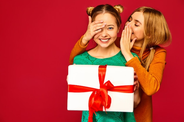 Modelo cobrindo os olhos de sua amiga e dando-lhe grande caixa de presente e haring segredo
