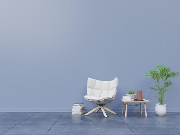 Modelo da parede interior com poltrona e tabela, plantas, vaso no fundo branco vazio.