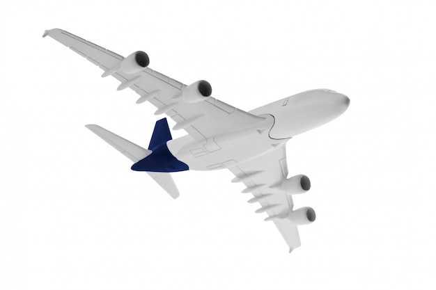 Modelo de avião com cor azul na cauda isolado no fundo branco