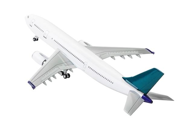Modelo de avião comercial isolado no fundo branco