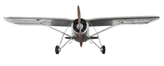 Modelo de avião de combate antigo de aço isolado no fundo branco com traçado de recorte