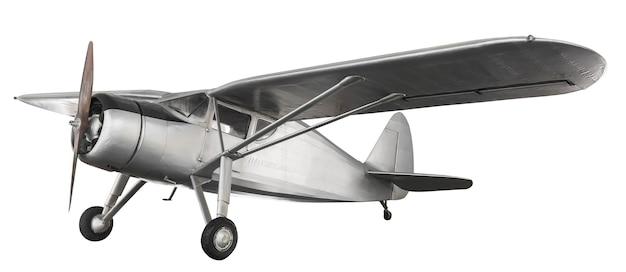 Modelo de avião de combate antigo de aço isolado