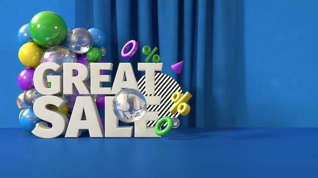 Modelo de banner azul grande venda, render 3d