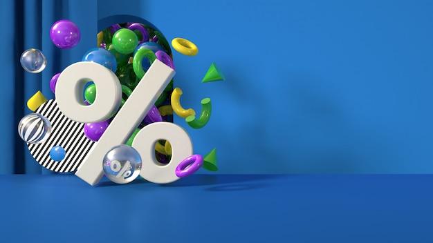 Modelo de banner de desconto azul, render 3d