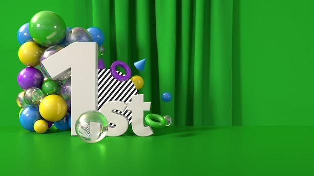Modelo de banner de vencedor 1 lugar, render 3d