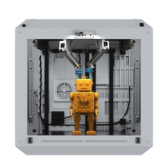 Modelo de brinquedo de lata de robô de renderização 3d em impressora 3d