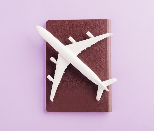 Modelo de brinquedo mínimo avião, avião no passaporte