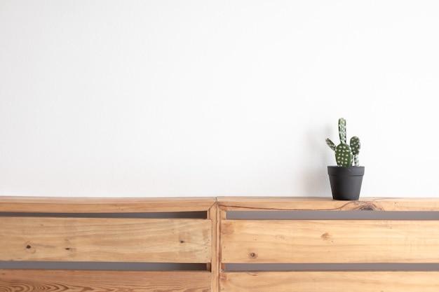 Modelo de cacto na placa de paletes de madeira com parede branca isolada.