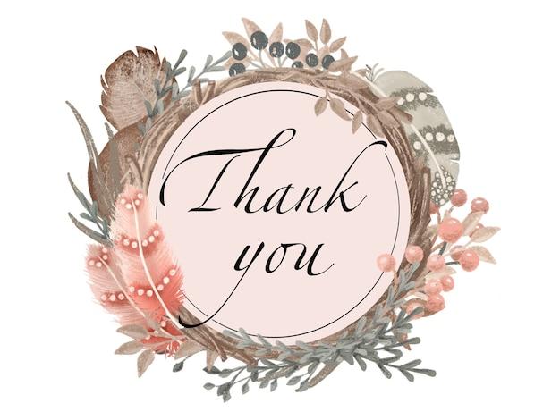 Modelo de cartão de agradecimento de grinalda, penas, floral