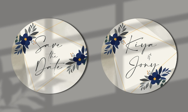 Modelo de cartão de convite de casamento floral salvar o design de cartão de data