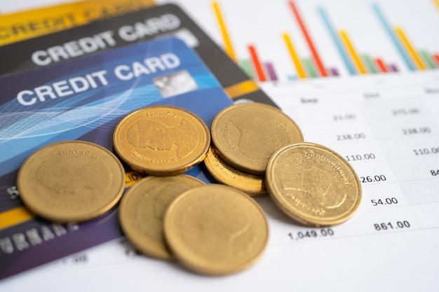 Modelo de cartão de crédito e moedas com caixa de carrinho de compras desenvolvimento financeiro contabilidade
