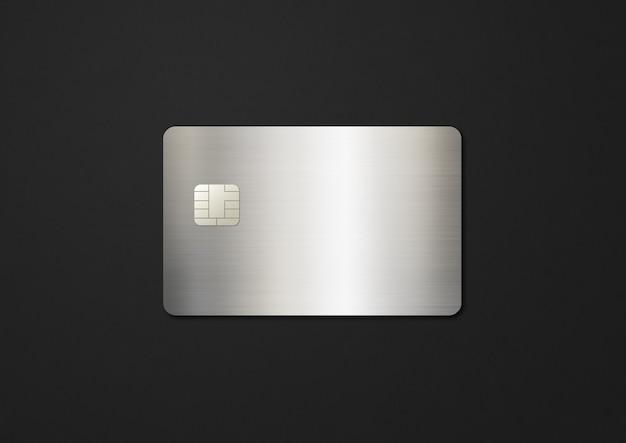 Modelo de cartão de crédito prateado em uma ilustração de fundo preto d