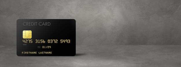Modelo de cartão de crédito preto em um banner de fundo de concreto. ilustração 3d