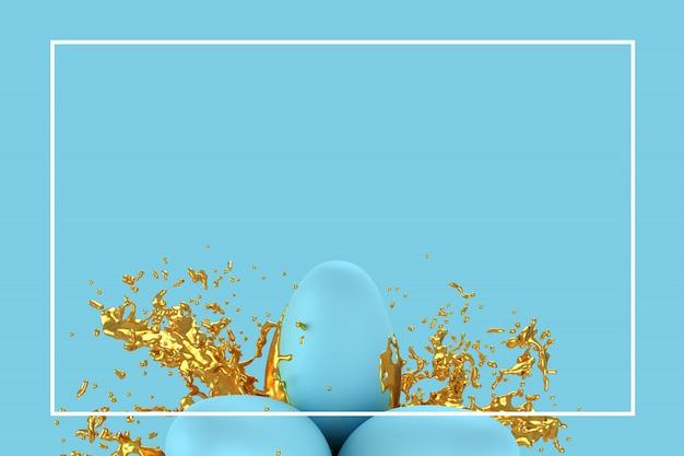 Modelo de cartão de saudação de páscoa ou ilustração 3d de cartão de publicidade