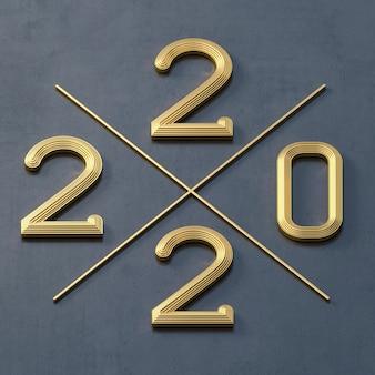 Modelo de cartão postal ou calendário de ganga dourada número 2022