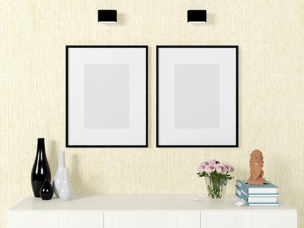 Modelo de cartaz vazio para simulação na parede com elementos decorativos, renderização em 3d