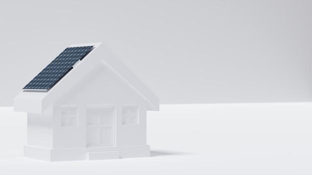 Modelo de casa com painel solar no telhado.