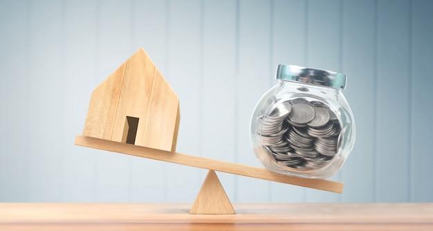 Modelo de casa de madeira. conceito de habitação e imobiliário