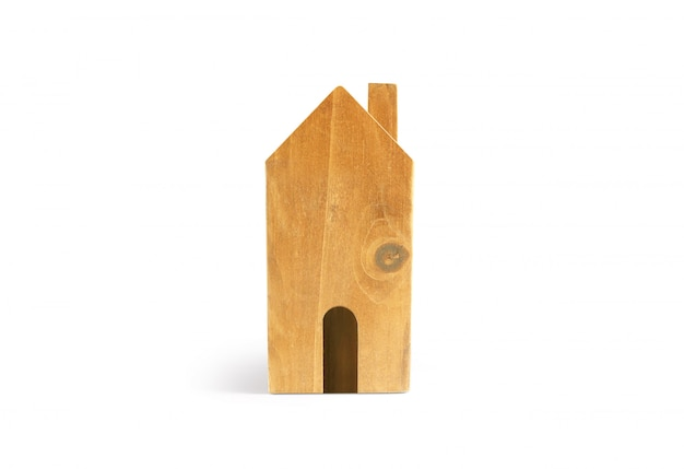 Modelo de casa de madeira no espaço lá de madeira.
