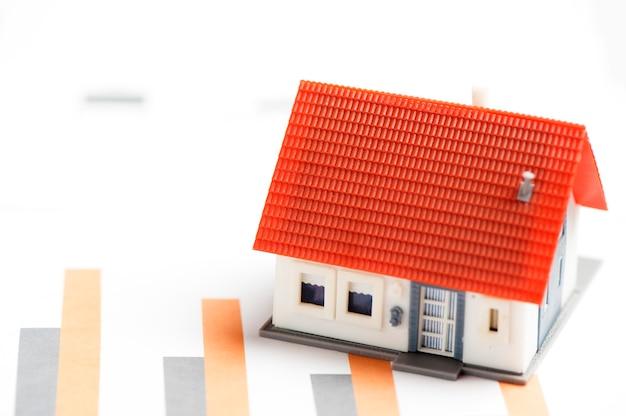 Modelo de casa e calculadora no documento gráfico