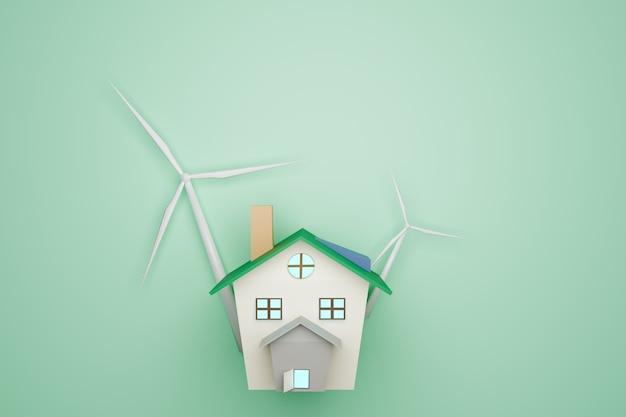 Modelo de casa e turbinas eólicas em fundo verde, conceito de ambiente, renderização de ilustrações 3d