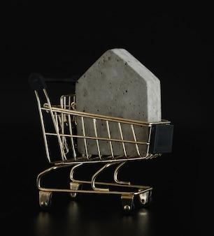 Modelo de casa no mini carrinho de compras no fundo preto compre uma casa investimento imobiliário