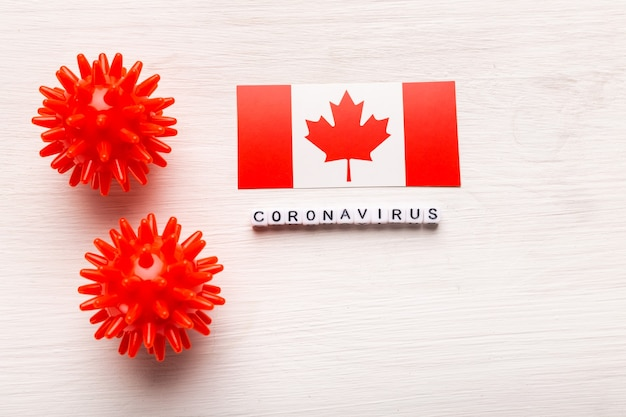 Modelo de cepa de vírus abstrato de coronavírus de síndrome respiratória do oriente médio 2019-ncov ou coronavírus covid-19 com texto e bandeira canadá em branco