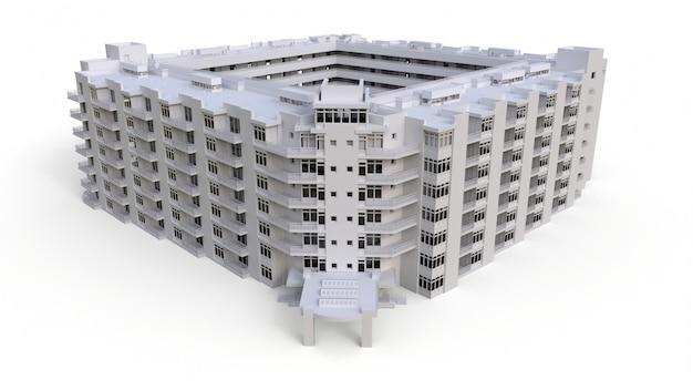 Modelo de condomínio na cor branca com vidros transparentes. apartamento casa com um pátio. renderização em 3d.
