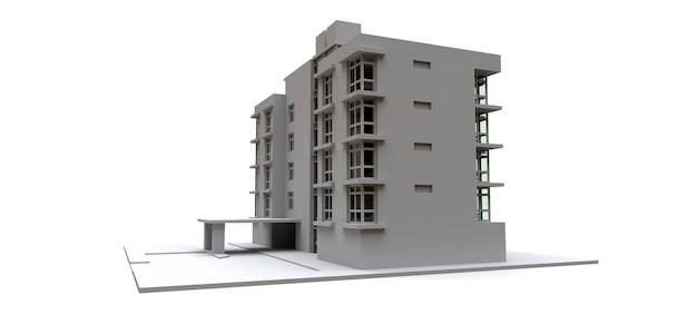 Modelo de condomínio na cor branca com vidros transparentes. casa de apartamento. renderização 3d.