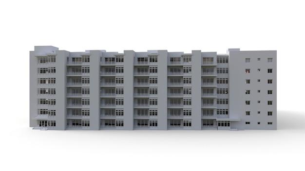 Modelo de condomínio na cor branca com vidros transparentes. edifício de apartamentos com pátio. renderização 3d.