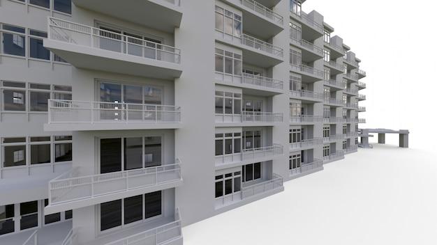 Modelo de condomínio na cor branca com vidros transparentes.