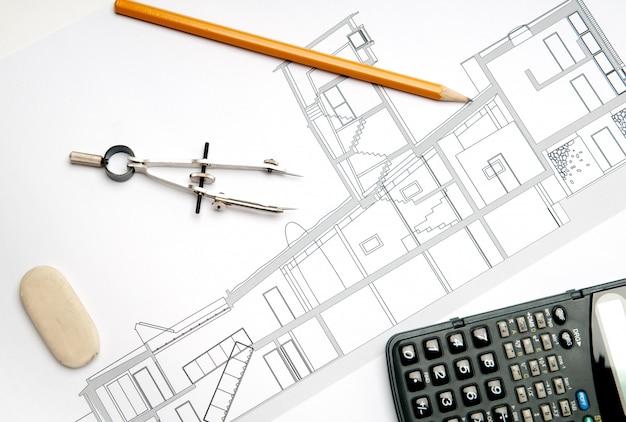 Modelo de construção bluconstruction. architect concepteprint