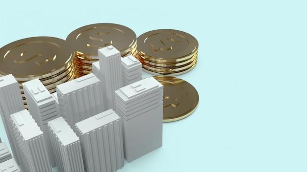 Modelo de construção e moedas de ouro para o conteúdo da propriedade.