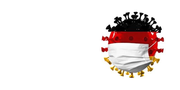 Modelo de coronavírus covid-19 colorido na bandeira da alemanha em máscara facial, conceito de propagação de pandemia, medicina e saúde. epidemia mundial, quarentena e isolamento, proteção. copyspace.