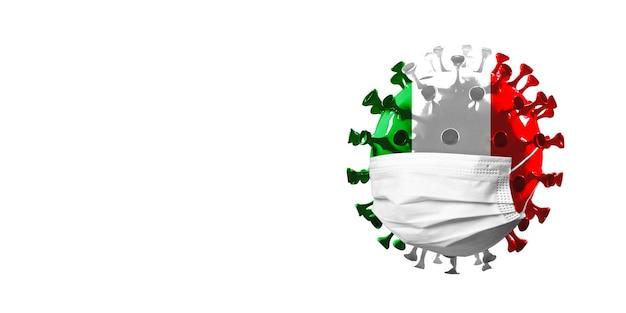 Modelo de coronavírus covid-19 colorido na bandeira nacional da itália em máscara facial, conceito de propagação de pandemia, medicina e saúde. epidemia mundial, quarentena e isolamento, proteção. copyspace.