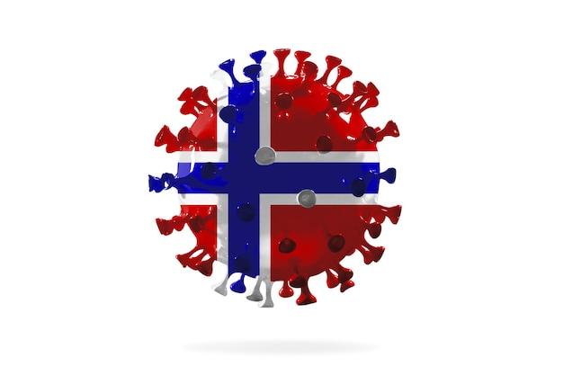 Modelo de coronavírus covid-19 colorido na bandeira nacional da noruega, conceito de propagação da pandemia, medicina e saúde. epidemia mundial com crescimento, quarentena e isolamento, proteção.