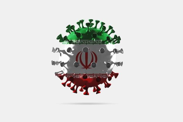 Modelo de coronavírus covid-19 colorido na bandeira nacional do irã, conceito de propagação de pandemia