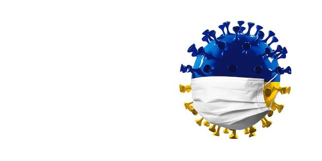 Modelo de coronavírus covid19 colorido na bandeira da união europeia em máscara facial
