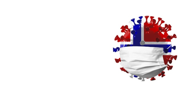 Modelo de coronavírus covid19 colorido na bandeira nacional da noruega no conceito de máscara facial de