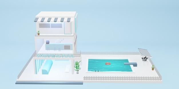 Modelo de desenho animado de piscina simulada de construção de três andares azul pastel ilustração 3d