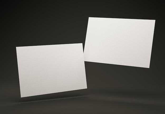 Modelo de design de dois cartões de visita brancos em branco