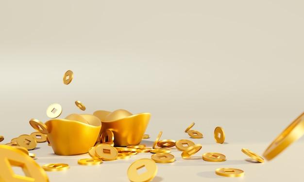 Modelo de design de saudação de ano novo chinês com lingotes de ouro chineses e tangerinas no padrão seigaiha vermelho.