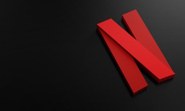 Modelo de design simples minimalista do logotipo da netflix. copie o espaço 3d