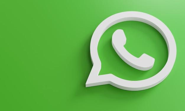 Modelo de design simples minimalista do whatsapp whatsapp. copie o espaço 3d