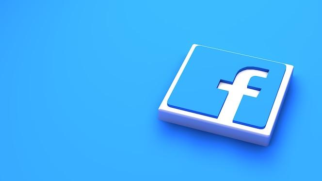 Modelo de design simples mínimo do logotipo do facebook. copiar espaço 3d