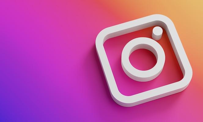 Modelo de design simples mínimo do logotipo do instagram. copie o espaço 3d